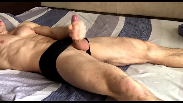 Russian primitive male jerks off his morning cock and ends up in convulsions / Muscular